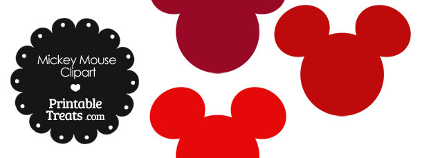 Mickey Mouse Head Clipart in Shades of Red