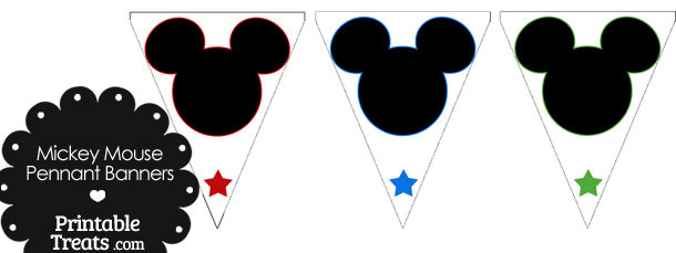 Mickey Mouse Head Pennant Banners
