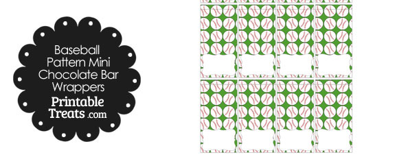 Mini Green Baseball Pattern Chocolate Bar Wrappers