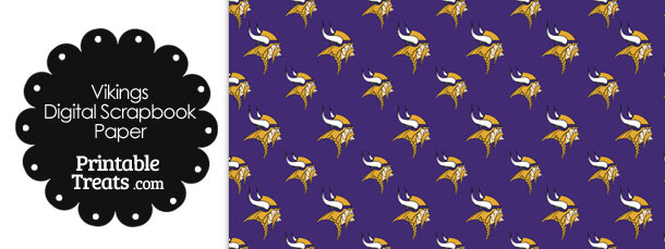 Minnesota Vikings Logo Digital Paper with Purple Background