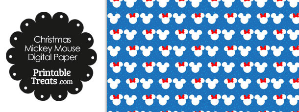 Minnie and Mickey Snow Theme Digital Scrapbook Paper