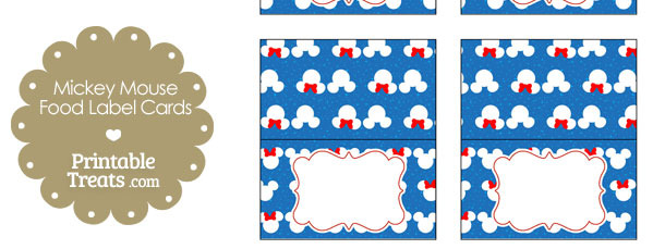 Minnie and Mickey Snow Theme Food Labels