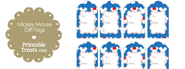 Minnie and Mickey Snow Theme Gift Tags