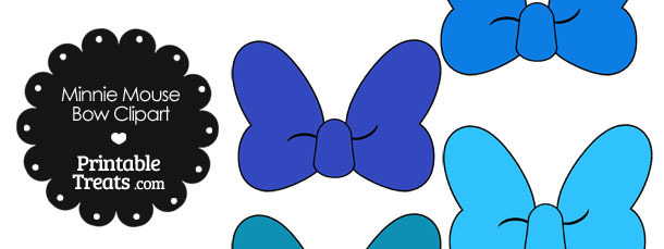 Minnie Mouse Bow Clipart in Shades of Blue