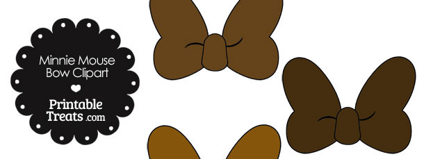 Minnie Mouse Bow Clipart in Shades of Brown