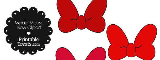 Minnie Mouse Bow Clipart in Shades of Red