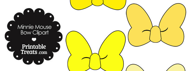 Minnie Mouse Bow Clipart in Shades of Yellow