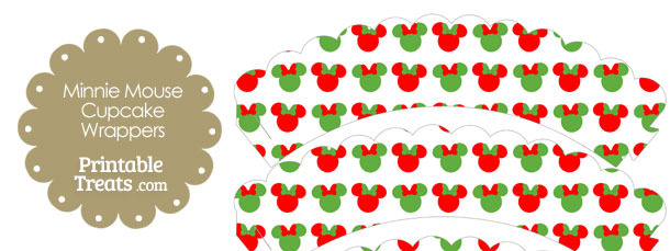 Minnie Mouse Christmas Scalloped Cupcake Wrappers