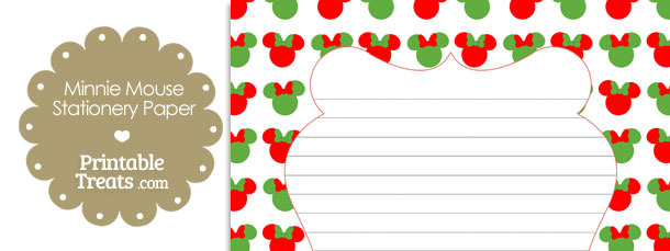 Minnie Mouse Christmas Stationery Paper