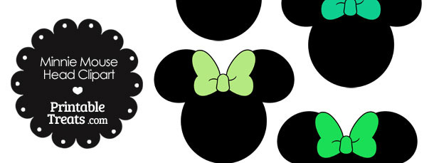 Minnie Mouse Head Clipart with Green Bows