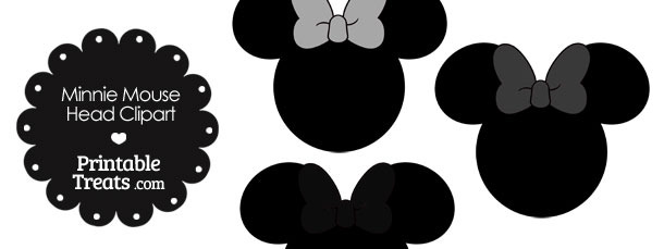 Minnie Mouse Head Clipart with Grey Bows