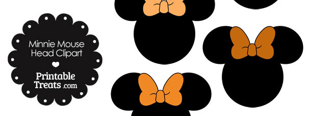Minnie Mouse Head Clipart with Orange Bows