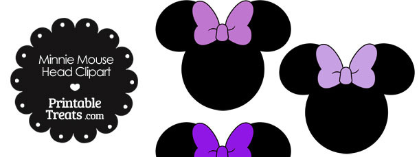 Minnie Mouse Head Clipart with Purple Bows