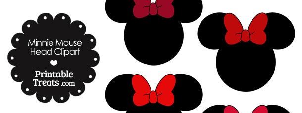 Minnie Mouse Head Clipart with Red Bows