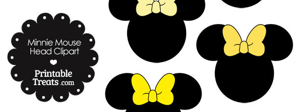 Minnie Mouse Head Clipart with Yellow Bows