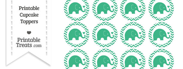 Mint Green Baby Elephant Chevron Cupcake Toppers