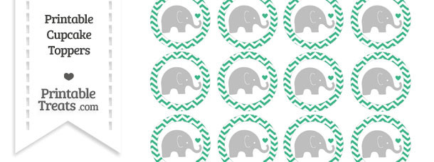 Mint Green Chevron Baby Elephant Cupcake Toppers