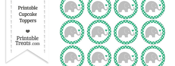 Mint Green Polka Dot Baby Elephant Cupcake Toppers