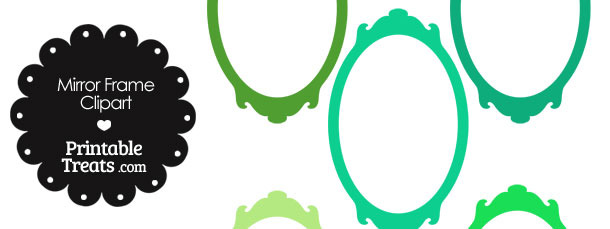Mirror Frame Clipart in Shades of Green