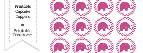 Mulberry Purple Baby Elephant Chevron Cupcake Toppers