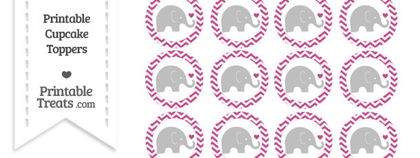 Mulberry Purple Chevron Baby Elephant Cupcake Toppers