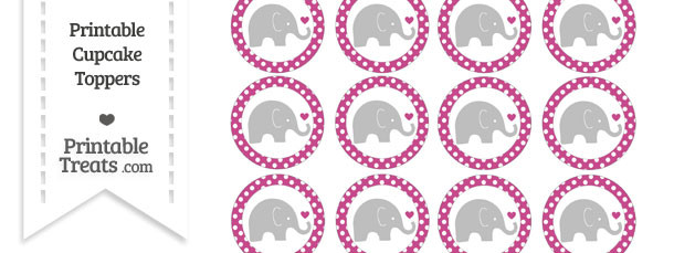 Mulberry Purple Polka Dot Baby Elephant Cupcake Toppers