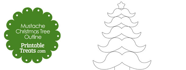 Mustache Christmas Tree Outline