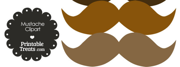 Mustache Clipart in Shades of Brown from PrintableTreats.com