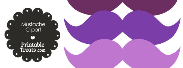 Mustache Clipart in Shades of Purple from PrintableTreats.com