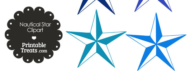 Nautical Star Clipart in Shades of Blue