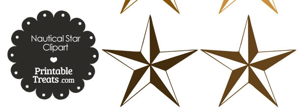 Nautical Star Clipart in Shades of Brown