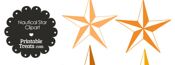Nautical Star Clipart in Shades of Orange