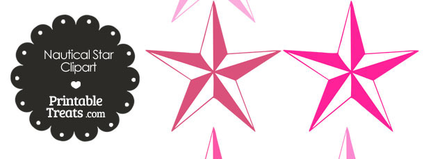 Nautical Star Clipart in Shades of Pink