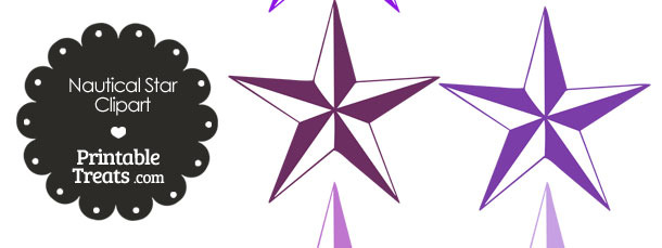 Nautical Star Clipart in Shades of Purple
