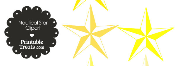 Nautical Star Clipart in Shades of Yellow