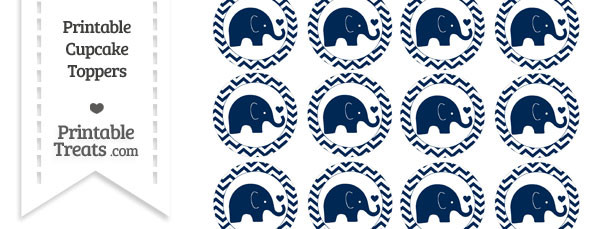 Navy Blue Baby Elephant Chevron Cupcake Toppers