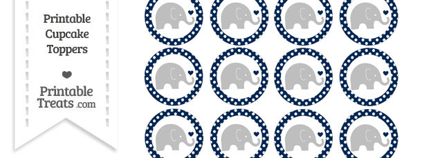 Navy Blue Polka Dot Baby Elephant Cupcake Toppers