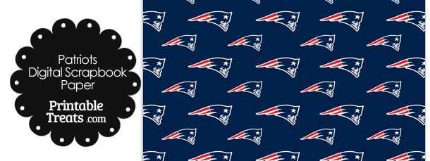New England Patriots Logo Digital Paper with Blue Background