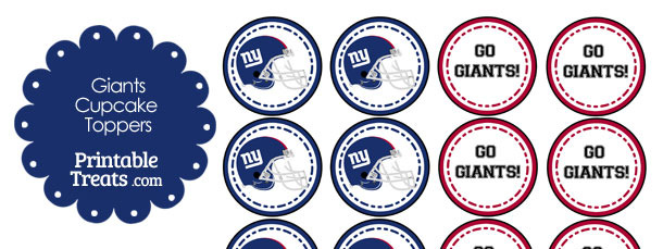 New York Giants Cupcake Toppers