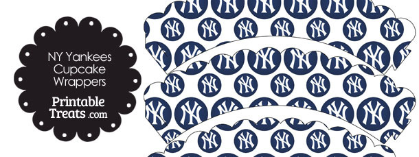 New York Yankees Logo with White Background Scalloped Cupcake Wrappers