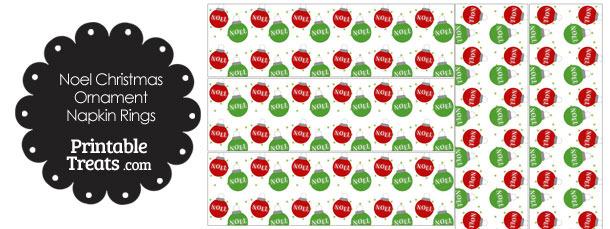 Noel Christmas Ornament Napkin Rings