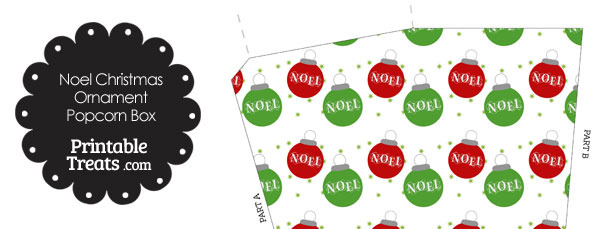 Noel Christmas Ornament Popcorn Box