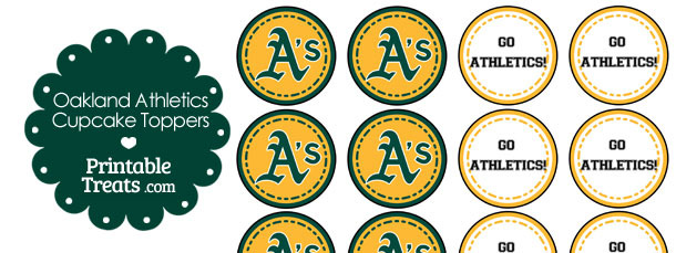 Oakland Athletics Cupcake Toppers