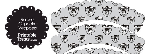 Oakland Raiders Logo with Grey Background Scalloped Cupcake Wrappers