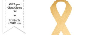 Old Paper Giant Awareness Ribbon Clipart
