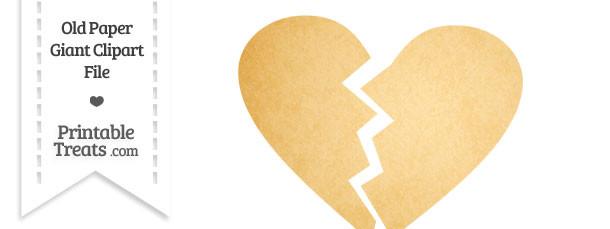Old Paper Giant Broken Heart Clipart