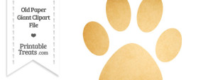 Old Paper Giant Cat Paw Print Clipart