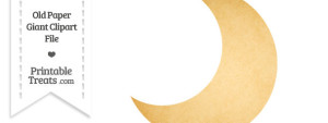 Old Paper Giant Crescent Moon Clipart
