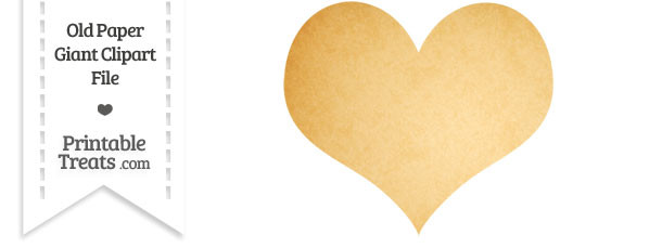 Old Paper Giant Heart Card Symbol Clipart
