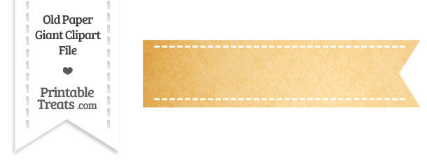 Old Paper Giant Horizontal Stitched Ribbon Clipart